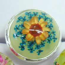 Hot sale epoxy resin real dry flower big finger rings gift