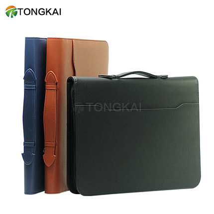 art portfolio case A4 zipper folder portable briefcase leather padfolio with calculator