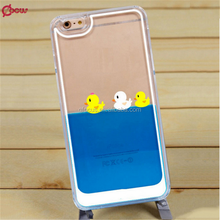 Hot-selling Clear liquid plastic smart phone cover case with floating duck and fish,for iphone6