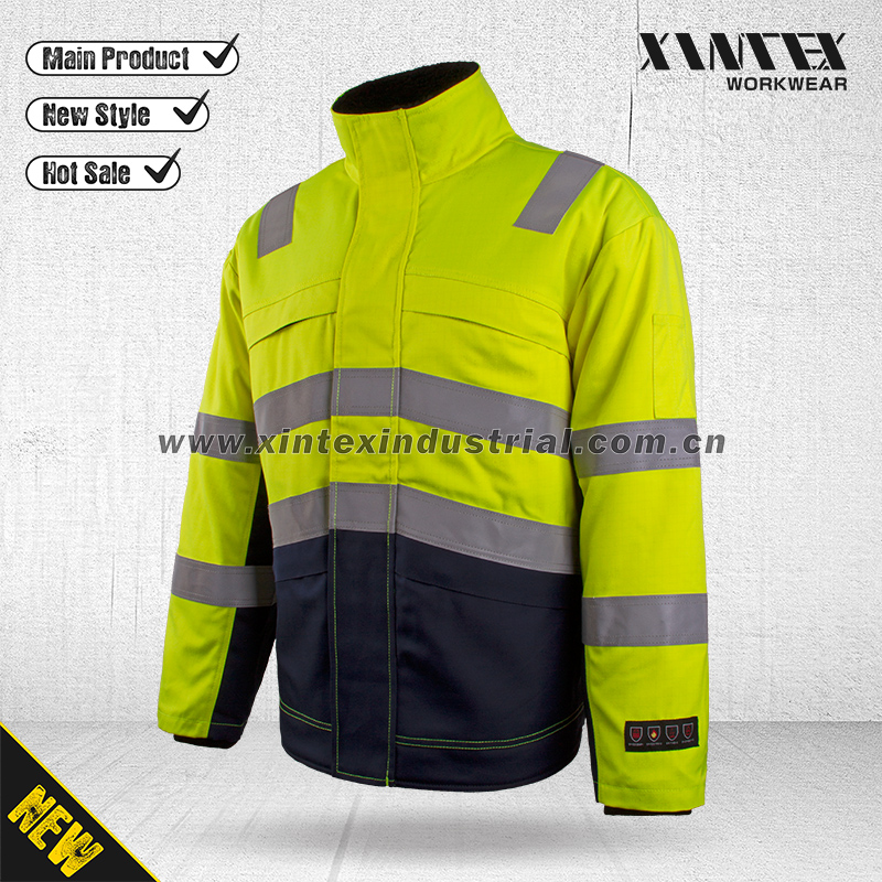 EN ISO 11612 / EN ISO 20471 / Anti-static Multinorm Protective Flame Retardant winter jacket Workwear/Multi winter jacket