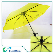 Automatic windproof bright yellow color 3 folding umbrella with logo print
