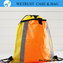 Foldable custom 210D durable polyester gym mesh drawstring backpack