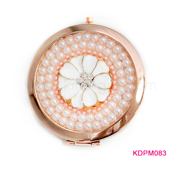 Round rose gold rhinestone inlaid compact mirror brand your own design makeup mirror