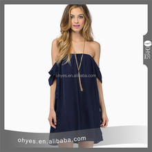 High quality women casual dress casual sexy off shoulder chiffon dress with CE certificate