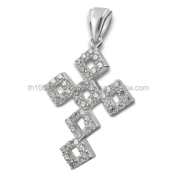 Square Link Cross Pendant Round Cut Tiny CZ Clear Gems Jewelry Firectory Direct Price Wholesale