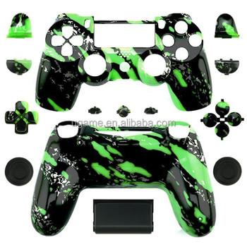 Replacement Customized shell for ps4 shell Green Splatter Design