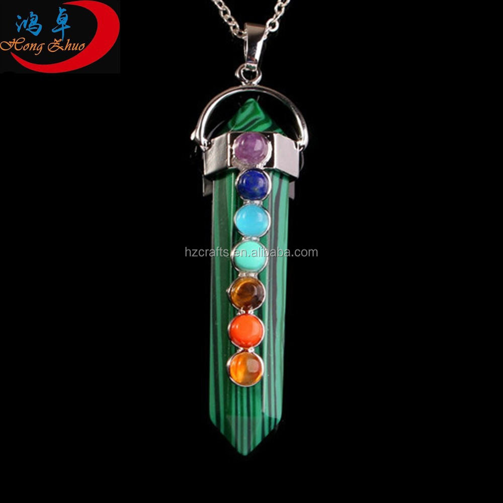 Free Shipping Silver Plated OM Yoga Crystal Healing Chakras Reiki Pendant Necklace