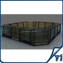 Titanium alloy glass showcase kiosk design/ jewelry kiosk showcase used in shopping malls