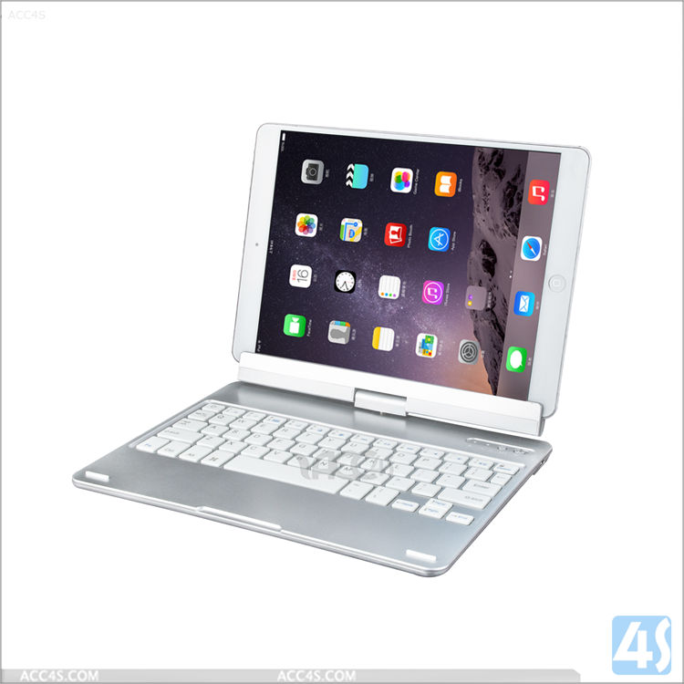 New design Aluminum Rotation wireless Bluetooth Keyboard for Apple iPad Air