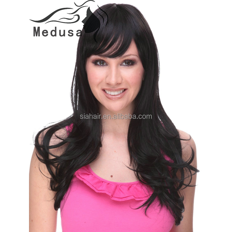 Xuchang hair factory cheap hair wigs synthetic wigs Layered long black wave