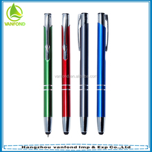 Classic promotional aluminum click pen with stylus