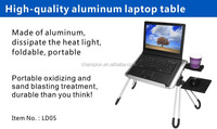 Pure alum material ,angle and height adjustable ,portable laptop desk with a mouse pad and a cup holder