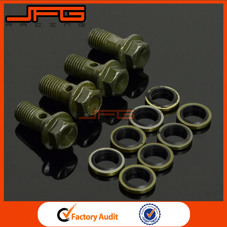 4 piece Brake Cluth Radiator Hose Bolt Fitting Adaptor <strong>M10</strong> x 1.25 Motorcycle Motocross ATV Dirt Pit Bike CRF KLX KTM YZF