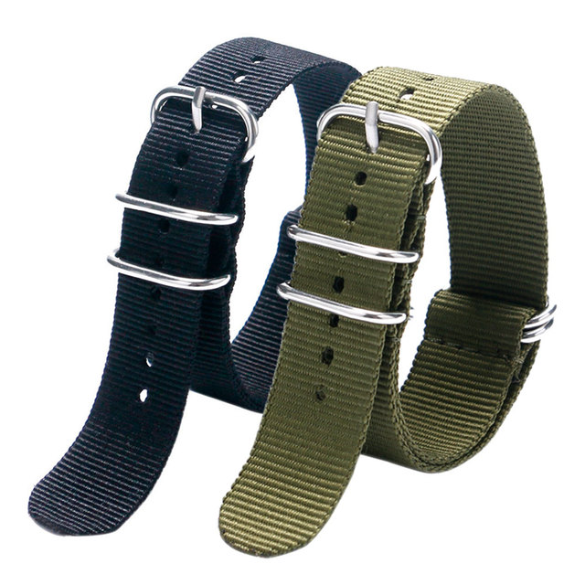 Fashion Cool Black & Army Green 20/22MM Fabric Nylon Canvas Watch Strap Band With 5 Rings For Sport Watches Men Women