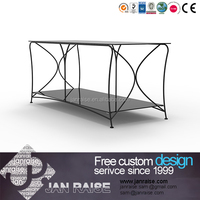 Latest design metal frame glass outdoor tv stand