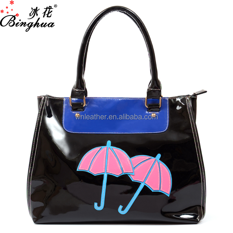 Yiwu bag factory supply 2016 women fashion cheap wholesale handbag black leather tote handbag