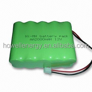 Cylindrical nimh rechargeable battery AA 2000mAh 12V Rechargeable NiMH Battery Pack led battery