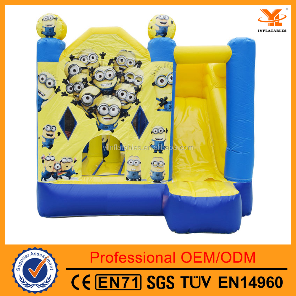 Inflatable Minions Cartoon House Shape Combo ,Inflatable Jumper With Slide Combo