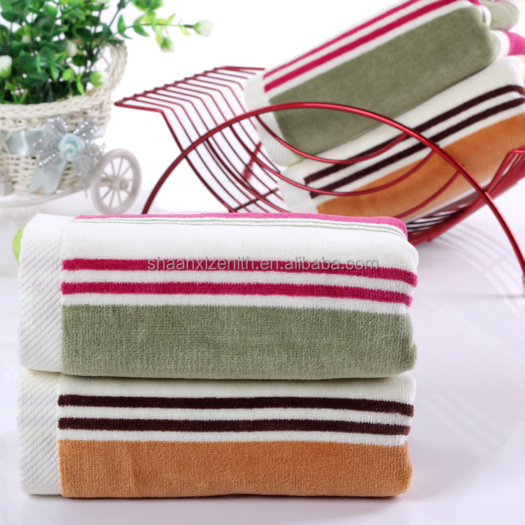 Hot Selling Spot Goods 100%Cotton Velour Stripe Face Towel