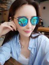 2017 new female models fashion mesh reflective sunglasses