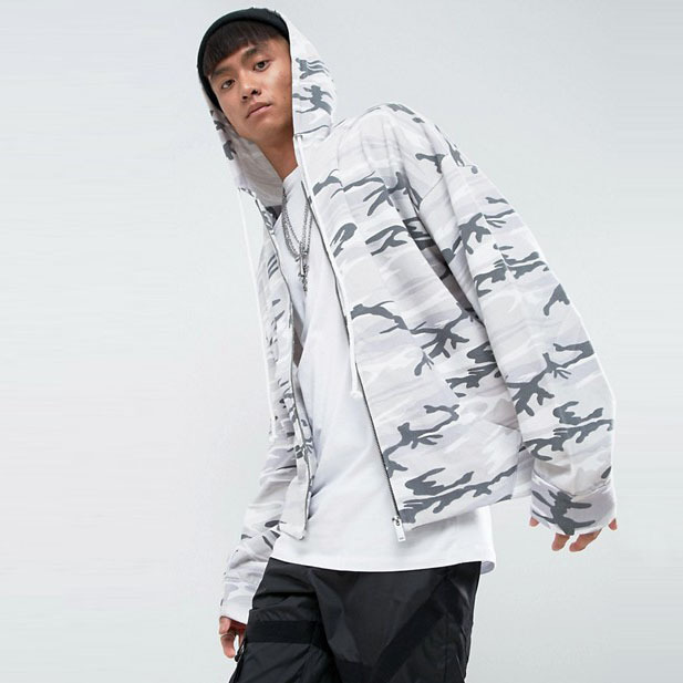 wholesale clothing China men's winter daily wear soft-touch drawstring hooded camo hoodie