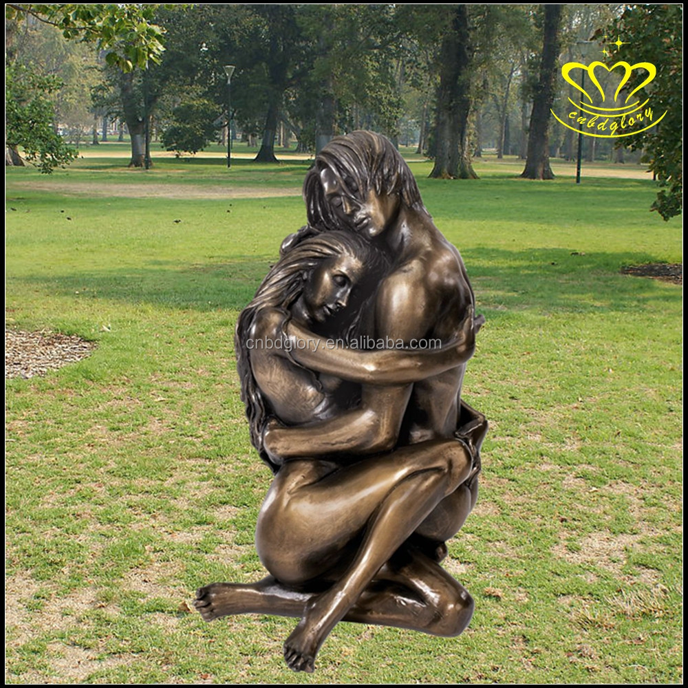 The Lovers Bronze Man Carrying Woman Nude Statue sculpture
