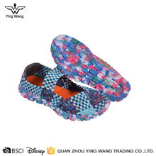 Custom design beautiful women's elastic band casual woven shoes
