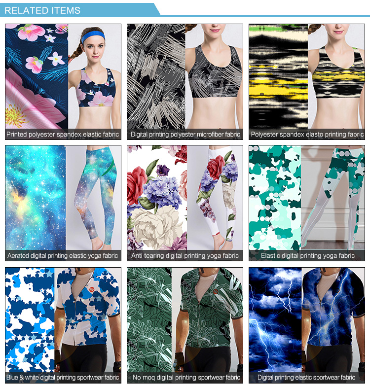 Cloth print design digital printed tight sport wear fabric