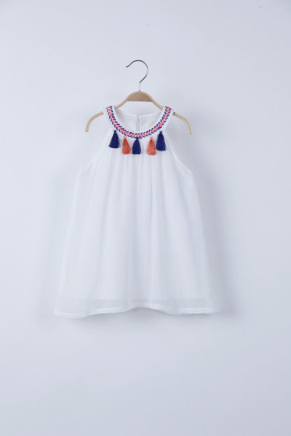 Girls Dress Kids Clothing 2017 Summer new Flower Tassels Dress Fashion Sleeveless Cotton Princess Dress girls white l