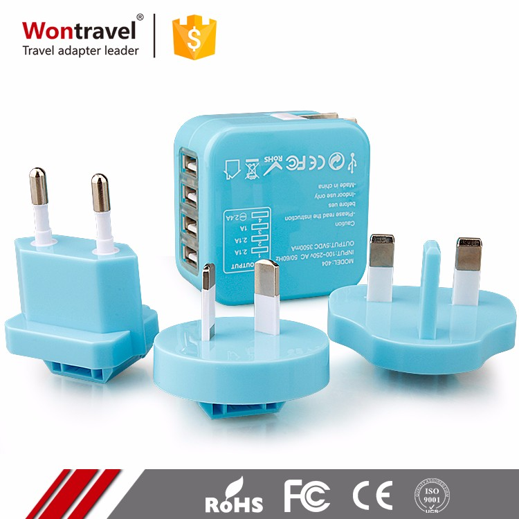 Multi Function World Philippines Universal Plug Adaptor World Portable Rechargeable Travel Adapter With Four USB Ports