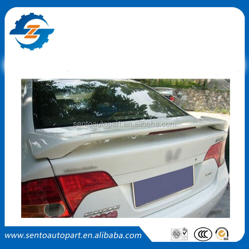 High quality unpainted ABS rear trunk spoiler with light for ci,-vic 2006-2011