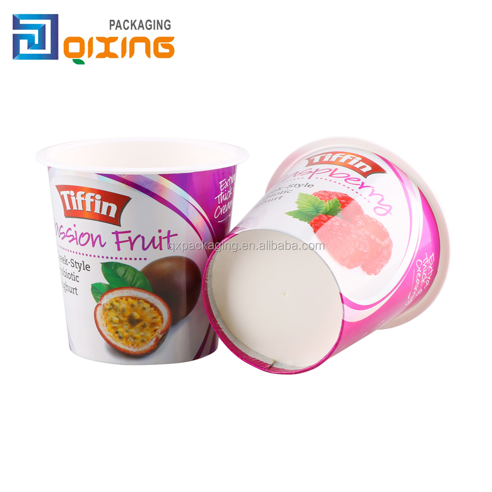 6oz wholesale logo printed double wall style and paper material yogurt plastic cup