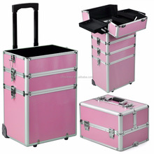 Pro Large Aluminum Hairdressing Makeup Vanity Toiletry Storage Nail Case Box Beauty Cosmetics Trolley 4 in 1