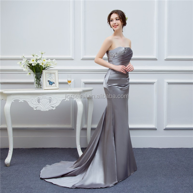 Gray Bridesmaid Dresses Satin Mermaid Beaded Cheap Brides Maid Dress Real Photo