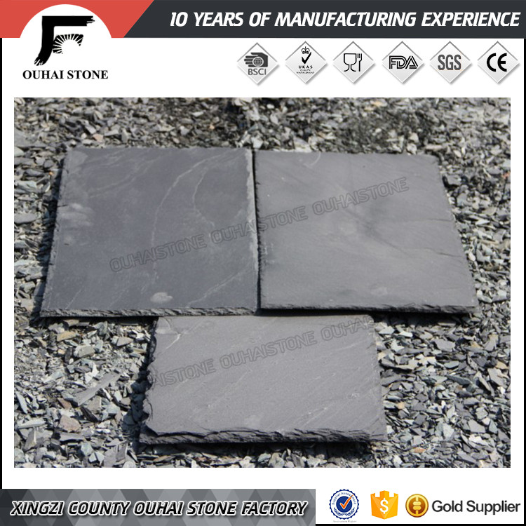 Popular outdoors decoration natural black slate roofing shingle