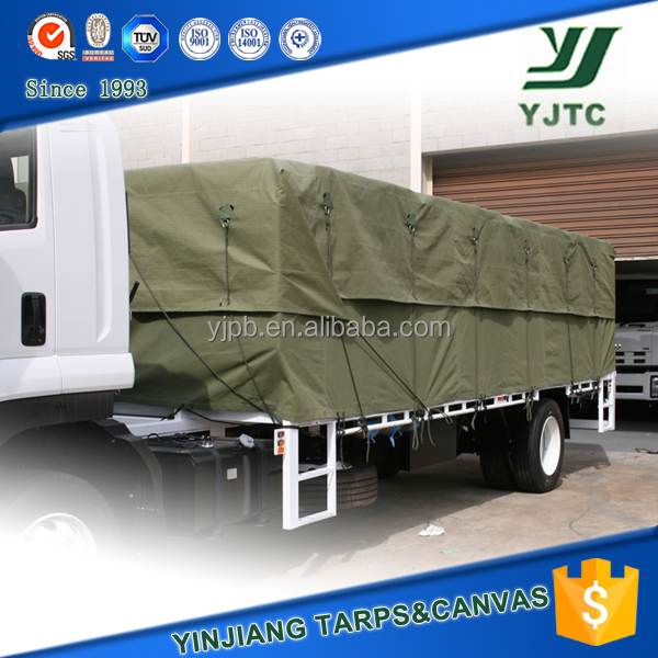 waterproof military green cotton canvas tarpaulin for truck