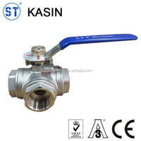 Screw SS304/316L 3 way ball valve with high mounting pad
