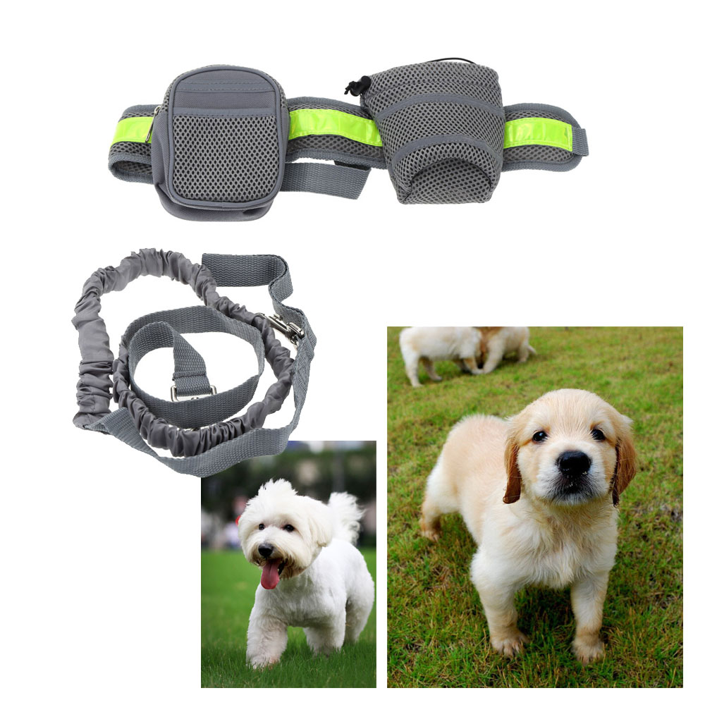 Running Leash For Pets Dog Lead Rope Elastic Waist Belt Strap Traction Rope Pets Leash With Water Bottle Holder + Dog Treats Bag