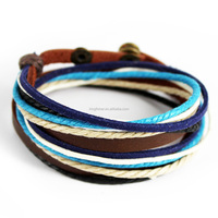 Colorful handmade braided press button clasp waxed cotton cord bracelet for students wholesale