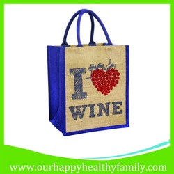 Wine Bottle Jute Beach Shopping Tote Bag