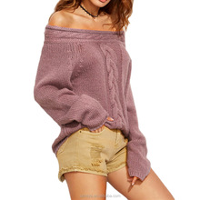Knitted hemp flowers cable boat neck sexy lady sweater women pullover sweater