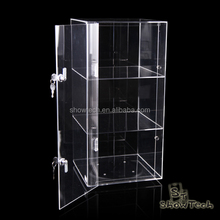 "24""H X 12""L X 12""W 3 Trays Acrylic Lucite rotating Countertop jewelry Display Case"
