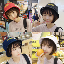 X108 2017 New Patchwork overcast numbers smile face fisherman hat sunscreen flat hat summer graffiti pot cap women Bucket Hat