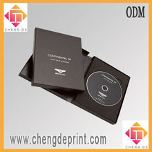 Black cardboard disk box DVD case box with manual book and hot seal tap shipping
