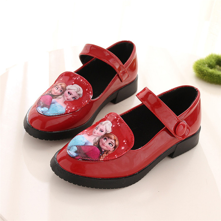 2016 latest 6-12 years children kids PU leather frozen girls dress shoes