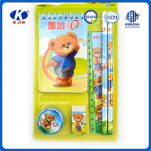 6pcs school supply funny cute bear stationery set for students