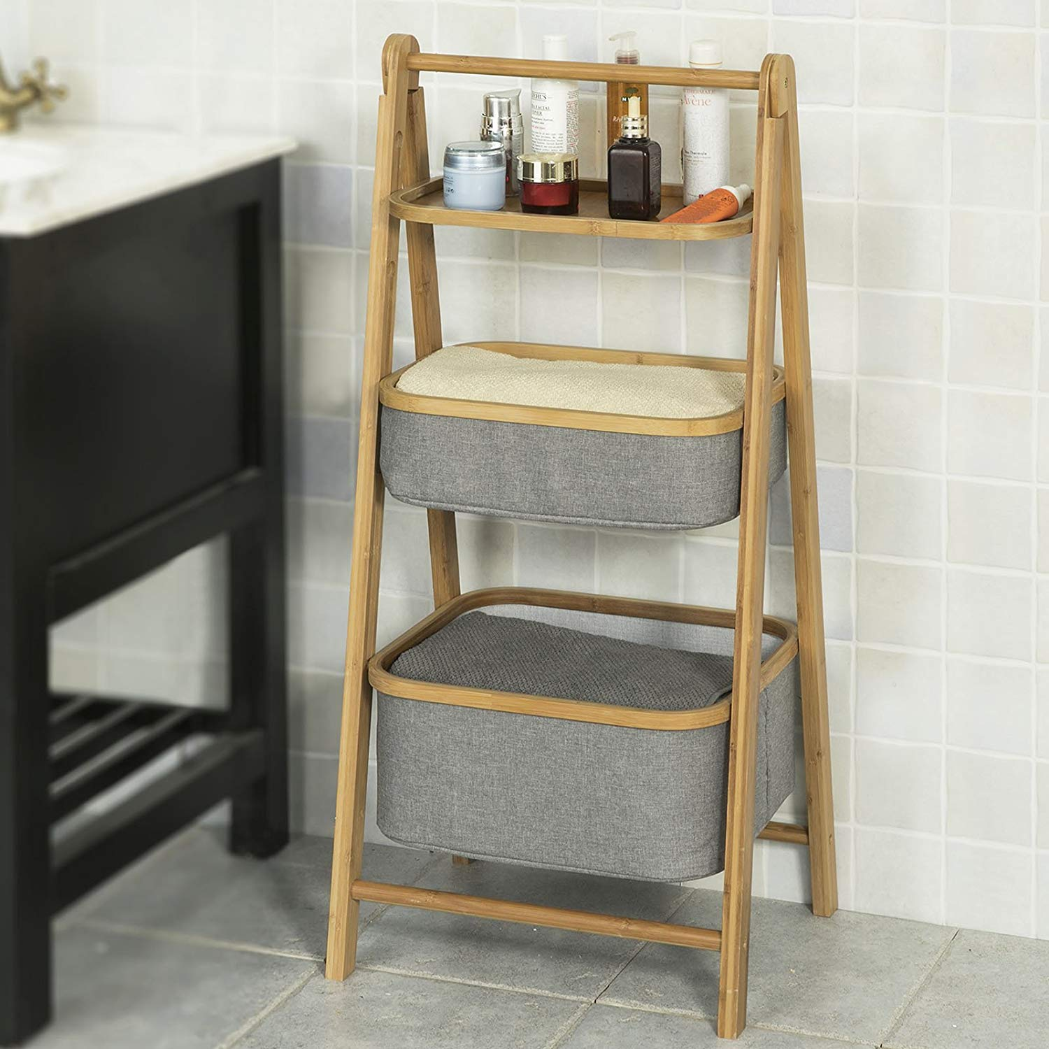 3 Tiers Foldable Bamboo Bathroom Shelf with 1 Shelf 2 Baskets, Storage Display Shelving Unit