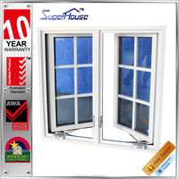decorative house aluminum frames American stype casement window with retractable flynet