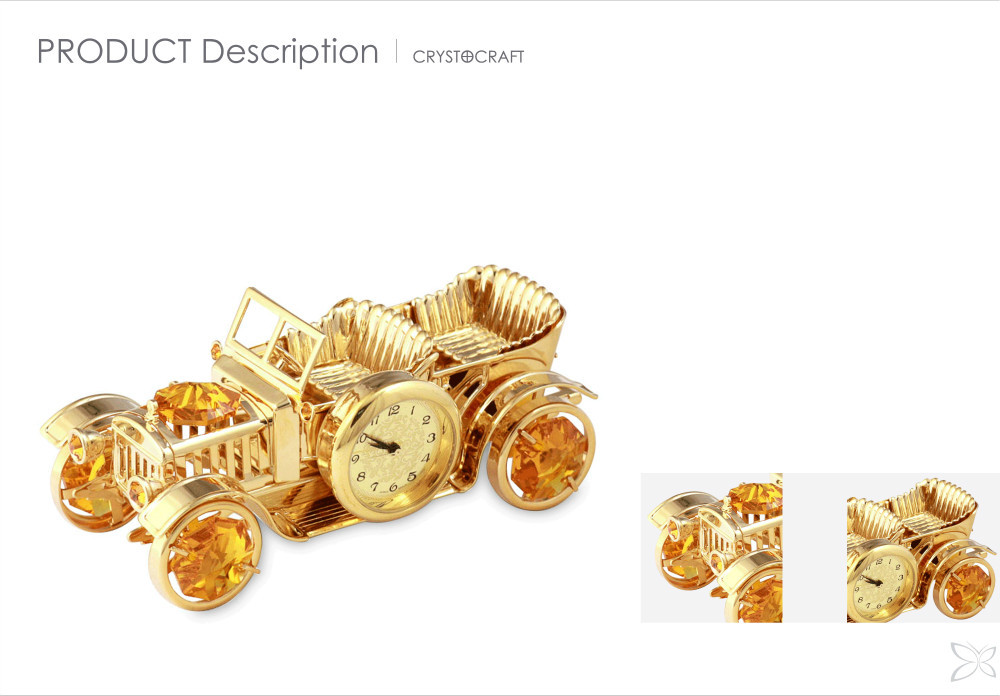 Unique Romantic Gold Plated Metal Crystal Vintage Car Antique Business Desk top Clock