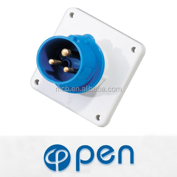 cee 16a 230V Waterproof IP44 3P industrial panel mounted plug